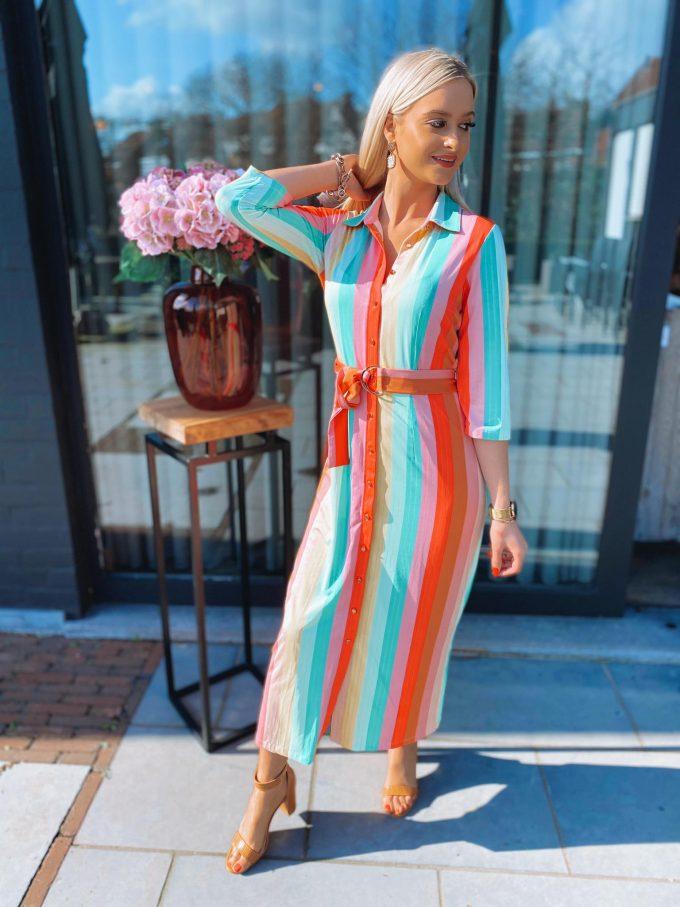 Lang kleed felle kleuren/strepen.