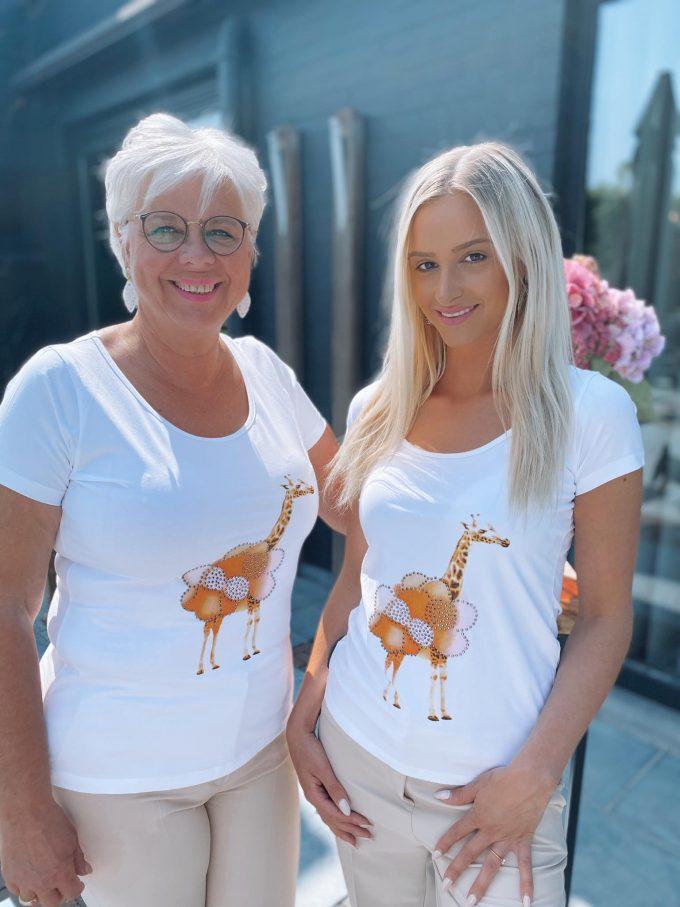 T-shirt ronde hals met giraf.
