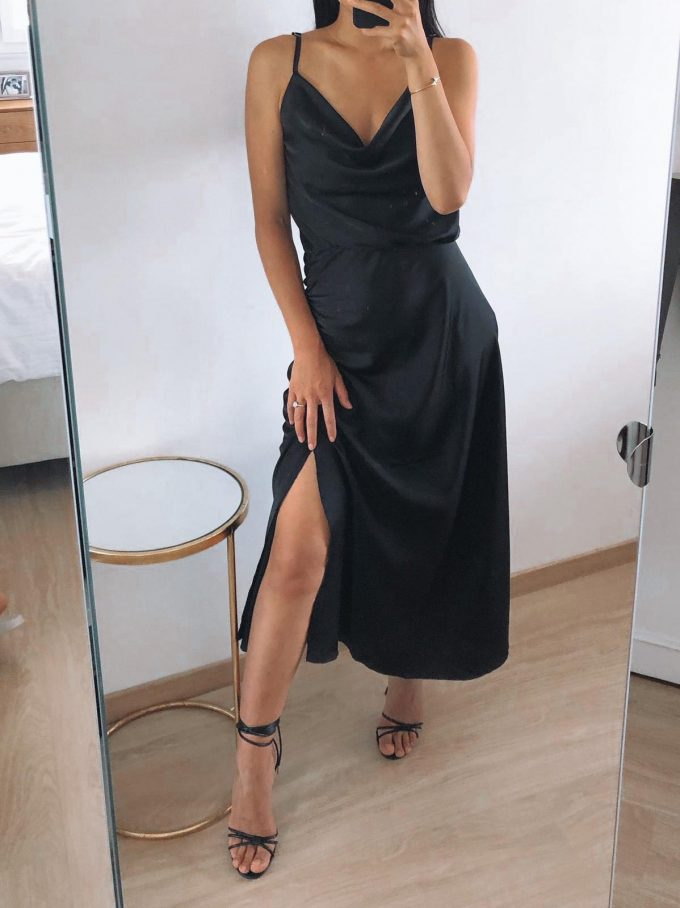 Satin dress black.