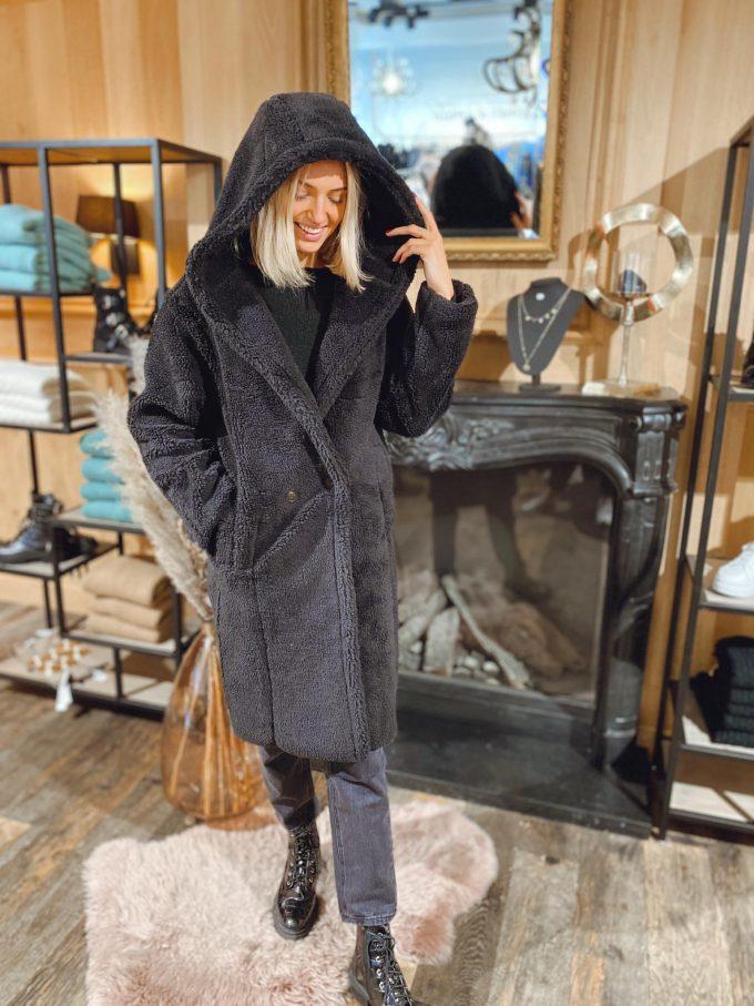 Coat with cap.
