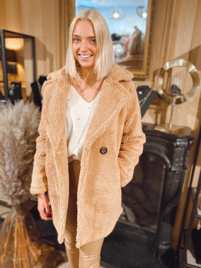 Teddy coat v-hals.