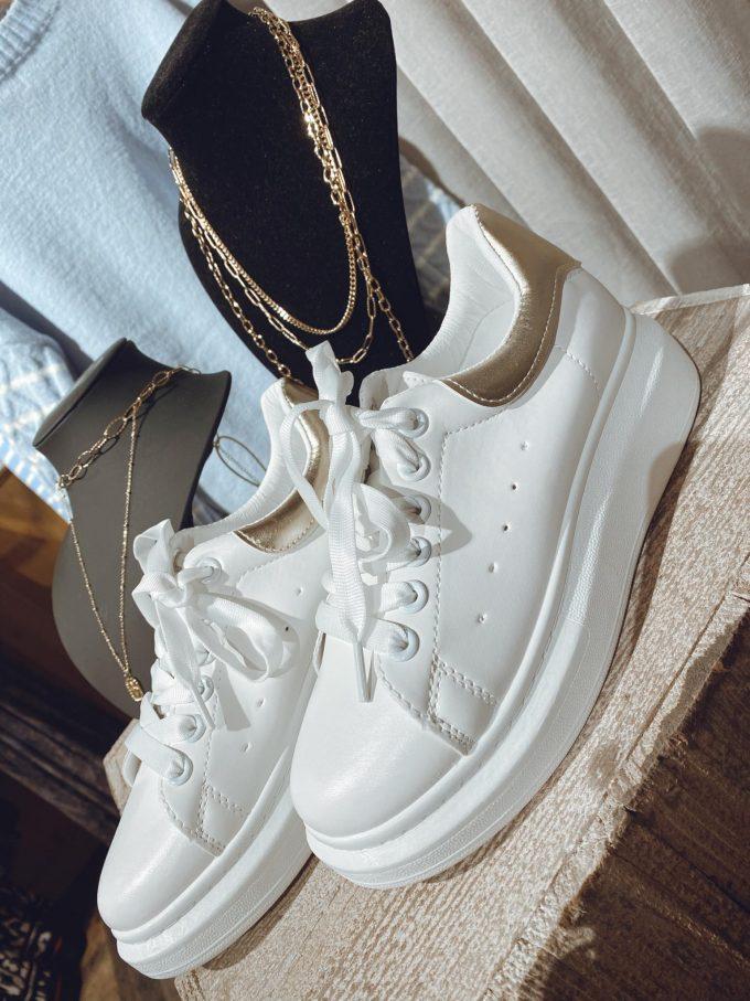 Sneaker white/gold.
