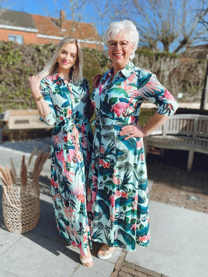 Maxi jurk met print & riem.