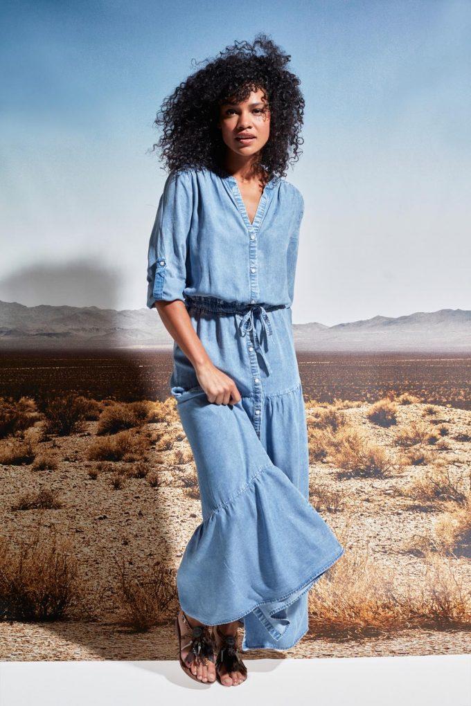 Maxi jurk in jeans.