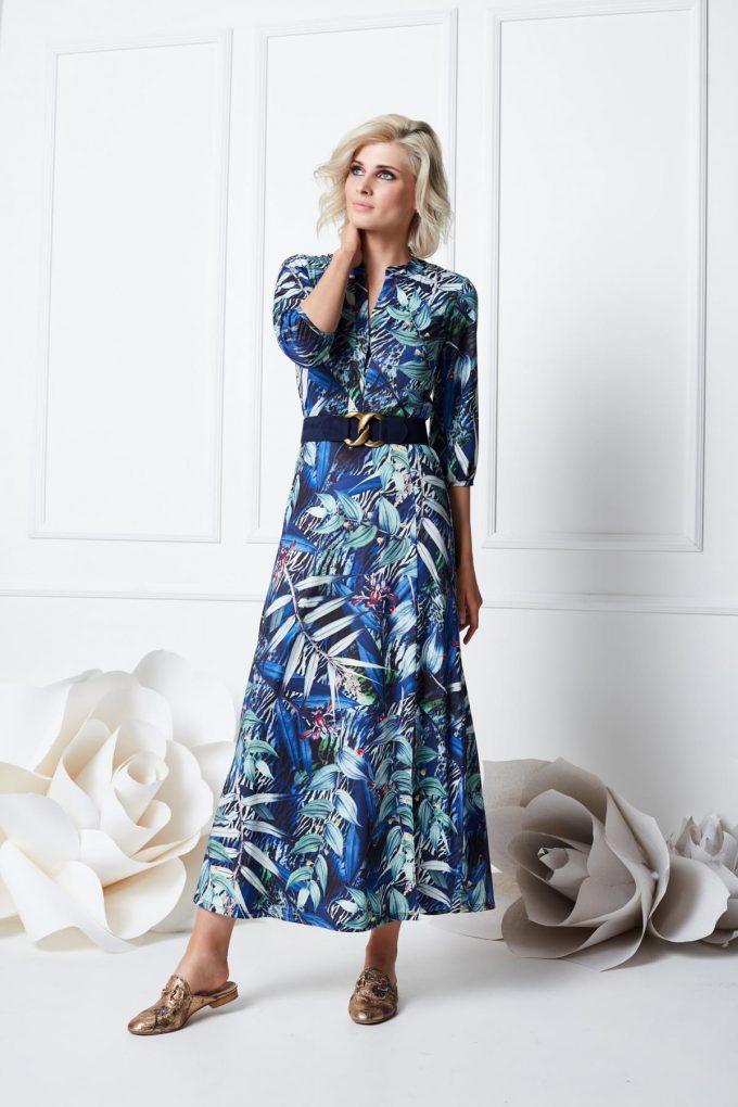 Maxi jurk met riem & print.