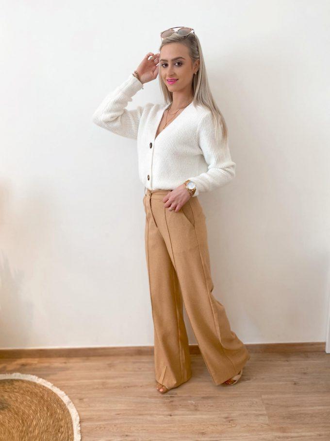 Wide suit pants.