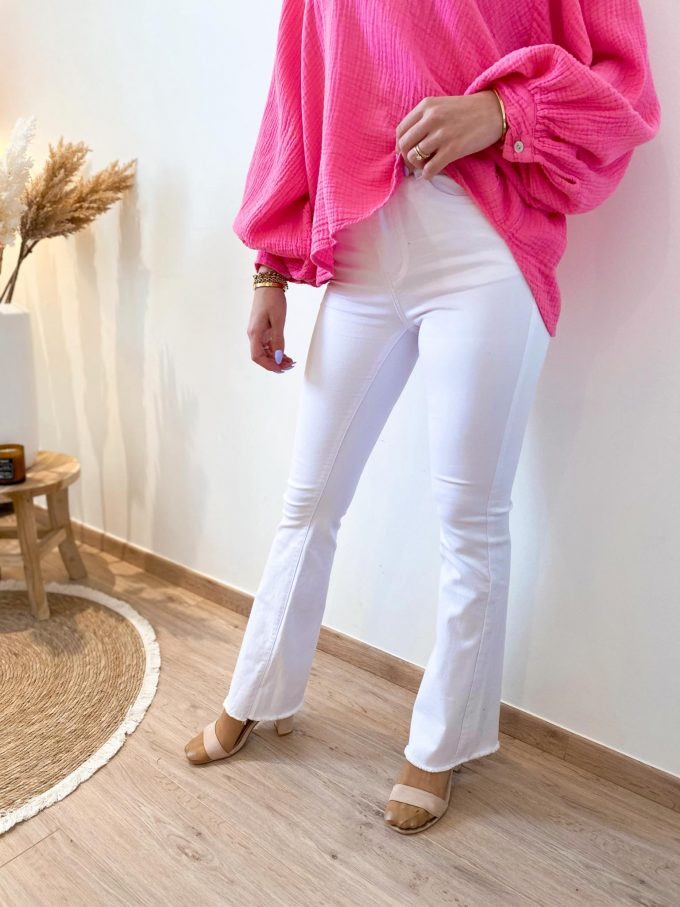Flare jeans boord wit.