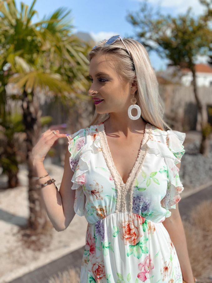 Maxi jurk V-hals met print & Volant.