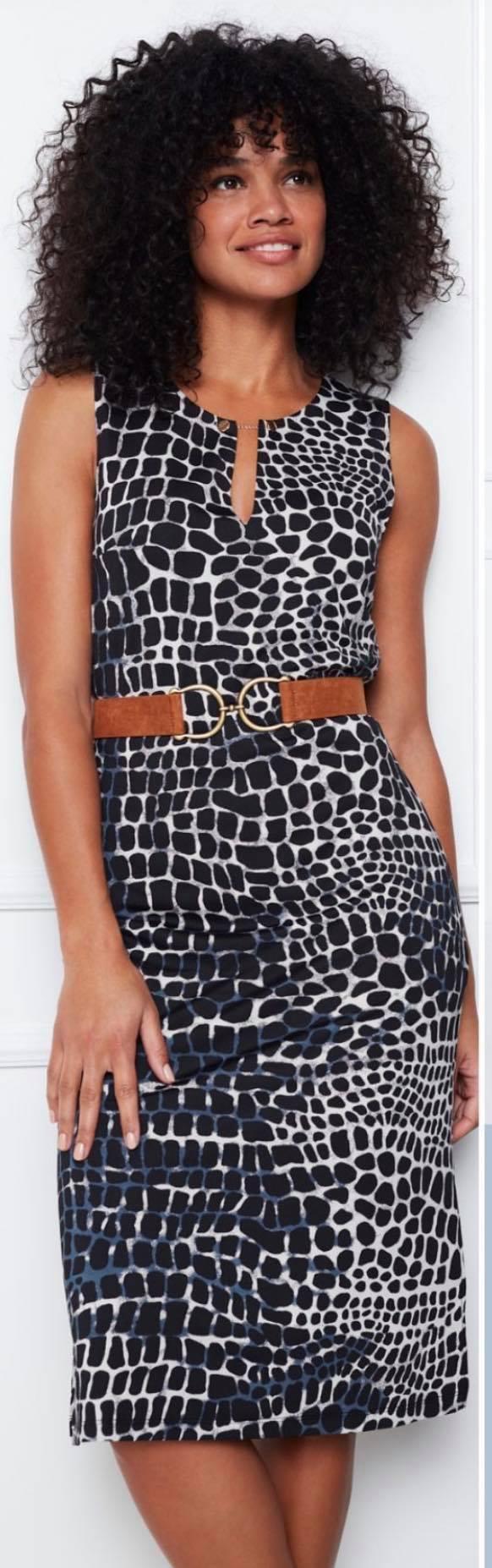 Midi jurk mouwloos met print.