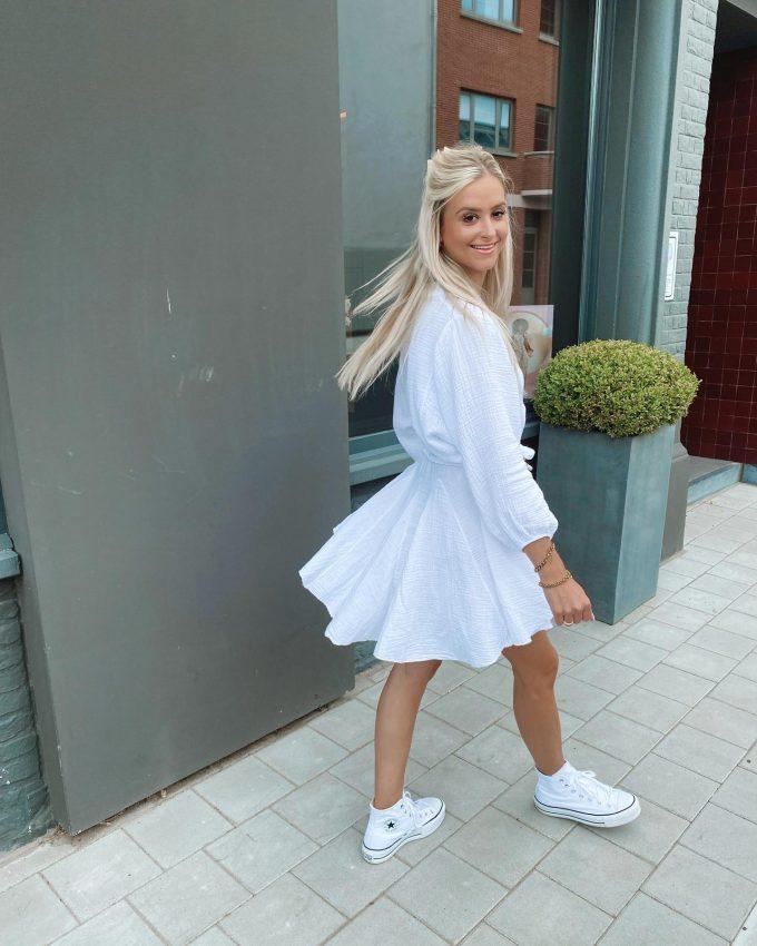 white tetra dress.