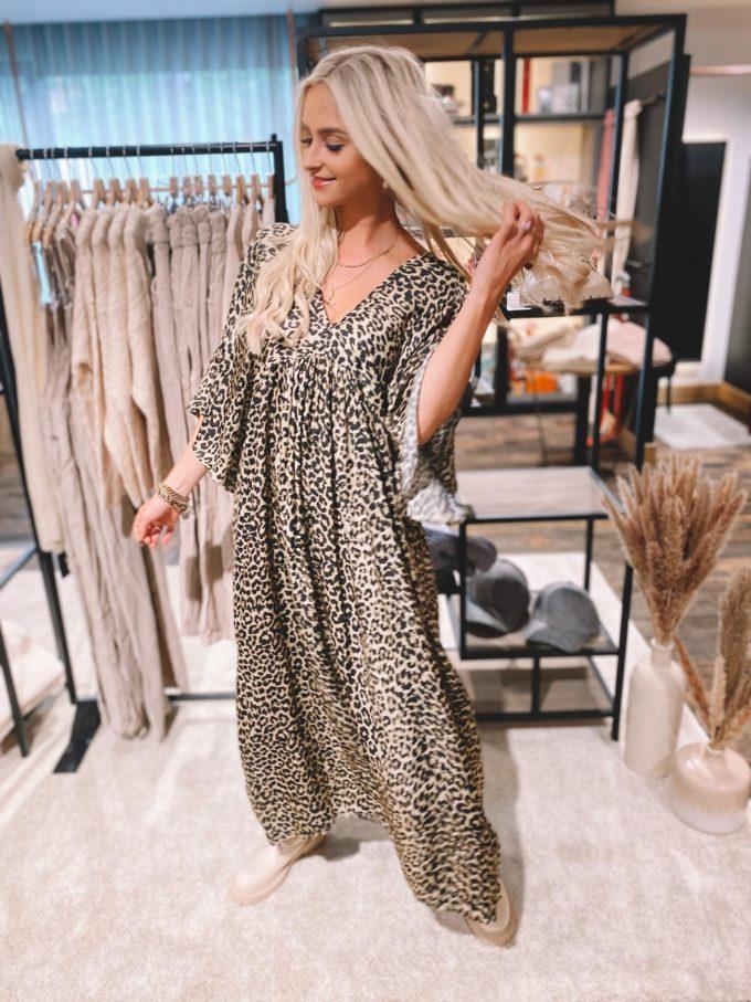 Satin leopard dress.