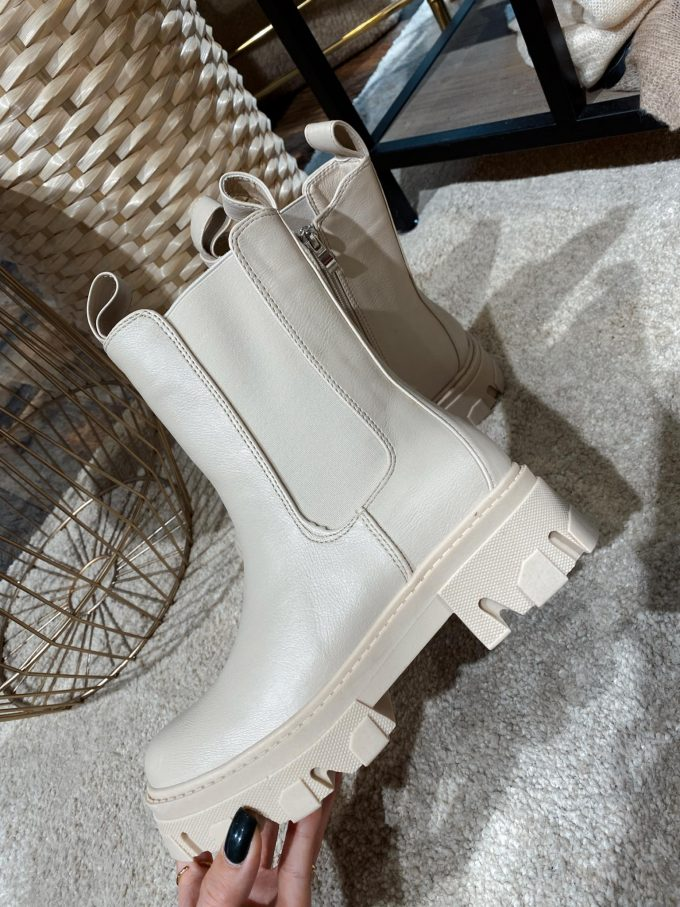Cream boots leather.