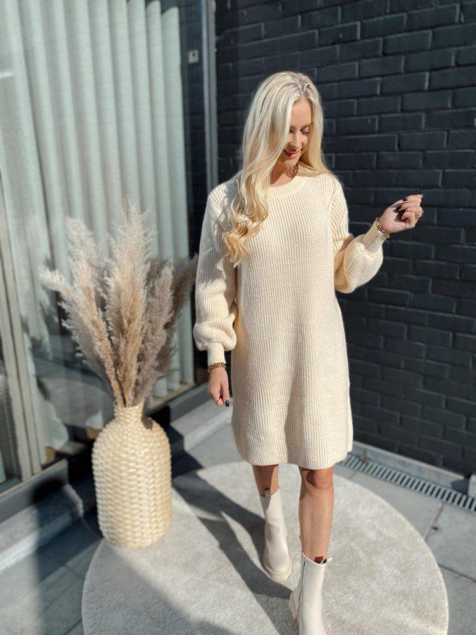 Cream sweater dress.