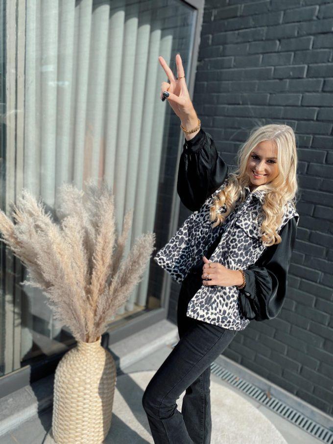 Leopard jacket mouwloos.