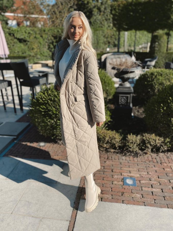 Quilted coat.